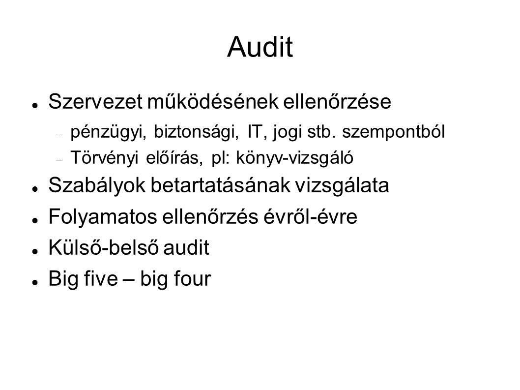 Audit Szervezet működésének ellenőrzése  pénzügyi, biztonsági, IT, jogi stb.