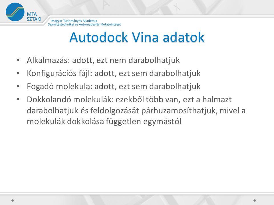 Autodock Vina adatok Alkalmazás: adott, ezt nem darabolhatjuk Konfigurációs fájl: adott, ezt sem darabolhatjuk Fogadó molekula: adott, ezt sem darabolhatjuk Dokkolandó molekulák: ezekből több van, ezt a halmazt darabolhatjuk és feldolgozását párhuzamosíthatjuk, mivel a molekulák dokkolása független egymástól