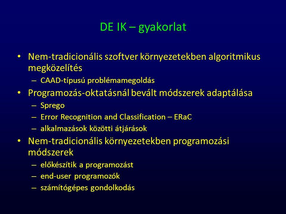 DE IK – gyakorlat Nem-tradicionális szoftver környezetekben algoritmikus megközelítés – CAAD-típusú problémamegoldás Programozás-oktatásnál bevált mód