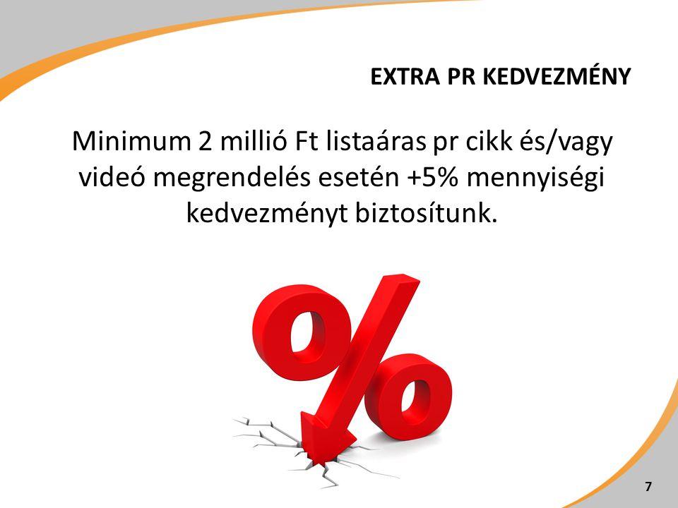 EXTRA PR KEDVEZMÉNY Minimum 2 millió Ft listaáras pr cikk és/vagy videó megrendelés esetén +5% mennyiségi kedvezményt biztosítunk. 7