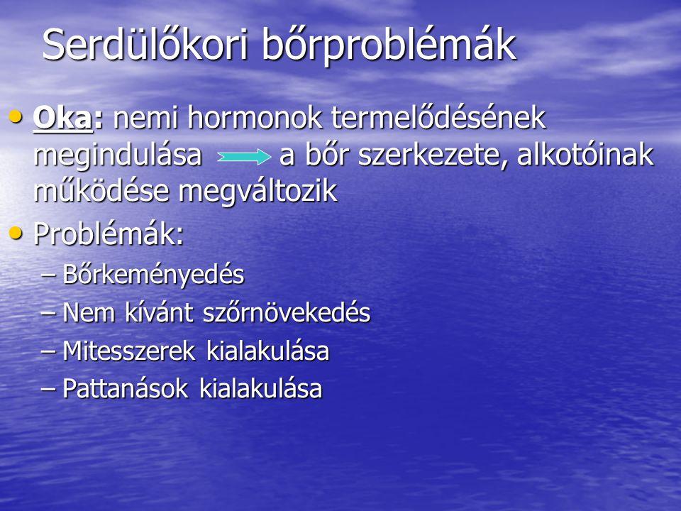 Serdülőkori bőrproblémák Oka: nemi hormonok termelődésének megindulásaa bőr szerkezete, alkotóinak működése megváltozik Oka: nemi hormonok termelődésé