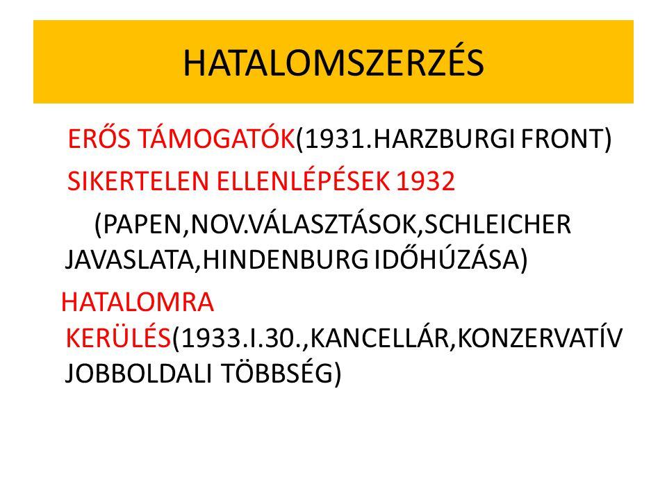 HATALOMSZERZÉS ERŐS TÁMOGATÓK(1931.HARZBURGI FRONT) SIKERTELEN ELLENLÉPÉSEK 1932 (PAPEN,NOV.VÁLASZTÁSOK,SCHLEICHER JAVASLATA,HINDENBURG IDŐHÚZÁSA) HAT