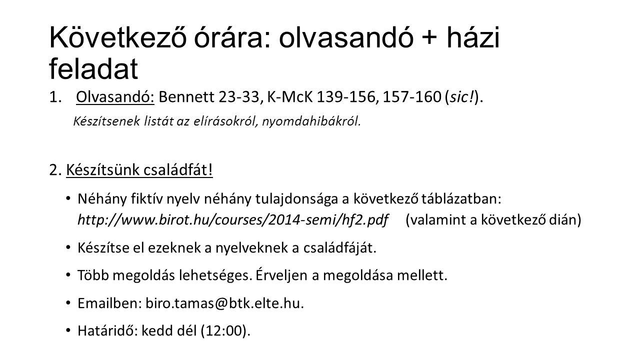 Következő órára: olvasandó + házi feladat 1.Olvasandó: Bennett 23-33, K-McK 139-156, 157-160 (sic!). Készítsenek listát az elírásokról, nyomdahibákról
