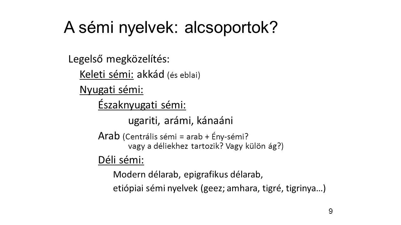9 A sémi nyelvek: alcsoportok? Legelső megközelítés: Keleti sémi: akkád (és eblai) Nyugati sémi: Északnyugati sémi: ugariti, arámi, kánaáni Arab (Cent