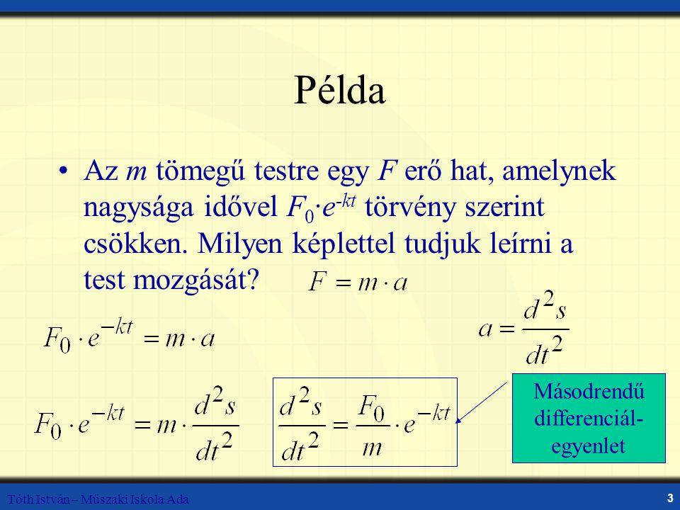 Tóth István – Műszaki Iskola Ada 3 Példa Az m tömegű testre egy F erő hat, amelynek nagysága idővel F 0 ·e -kt törvény szerint csökken.