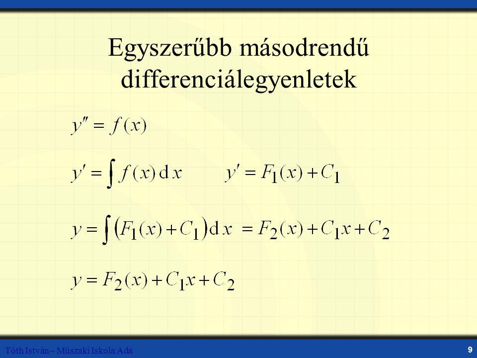 Tóth István – Műszaki Iskola Ada 9 Egyszerűbb másodrendű differenciálegyenletek