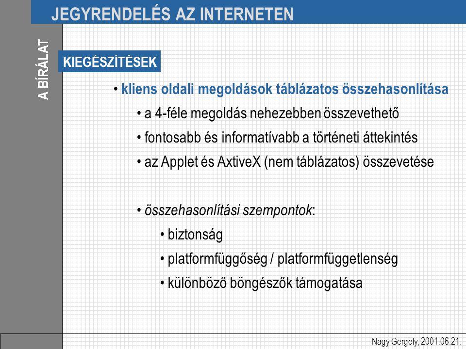 Nagy Gergely, 2001.06.21. JEGYRENDELÉS AZ INTERNETEN A BÍRÁLAT kliens oldali megoldások táblázatos összehasonlítása a 4-féle megoldás nehezebben össze