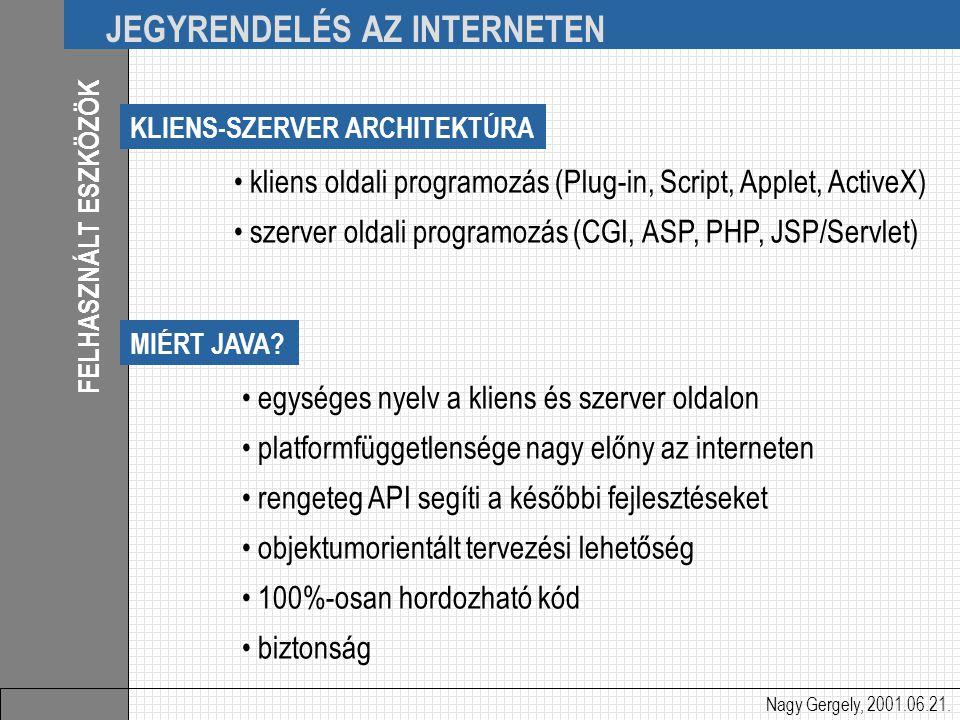 Nagy Gergely, 2001.06.21. JEGYRENDELÉS AZ INTERNETEN FELHASZNÁLT ESZKÖZÖK kliens oldali programozás (Plug-in, Script, Applet, ActiveX) szerver oldali