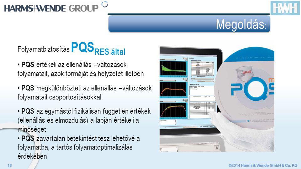 Folyamatbiztosítás PQS RES által PQS értékeli az ellenállás –változások folyamatait, azok formáját és helyzetét illetően PQS megkülönbözteti az ellenállás –változások folyamatait csoportosításokkal PQS az egymástól fizikálisan független értékek (ellenállás és elmozdulás) a lapján értékeli a minőséget PQS zavartalan betekintést tesz lehetővé a folyamatba, a tartós folyamatoptimalizálás érdekében Megoldás :