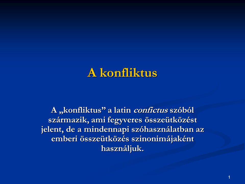 """1 A konfliktus A """"konfliktus"""" a latin confictus szóból származik, ami fegyveres összeütközést jelent, de a mindennapi szóhasználatban az emberi összeü"""