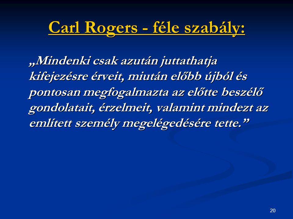"""20 Carl Rogers - féle szabály: """"Mindenki csak azután juttathatja kifejezésre érveit, miután előbb újból és pontosan megfogalmazta az előtte beszélő go"""