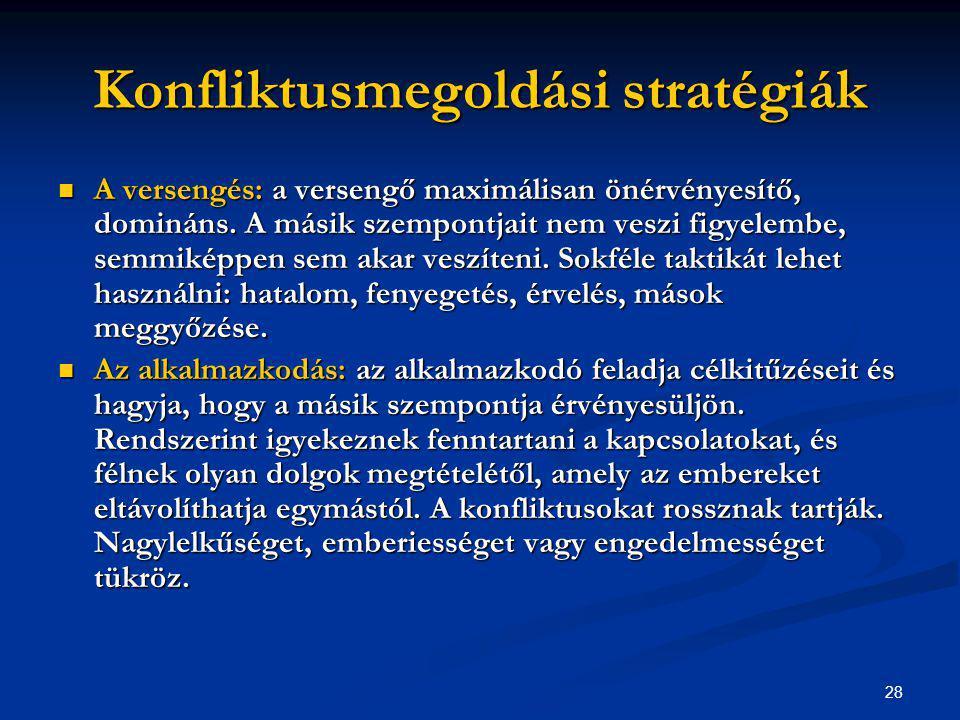 28 Konfliktusmegoldási stratégiák A versengés: a versengő maximálisan önérvényesítő, domináns. A másik szempontjait nem veszi figyelembe, semmiképpen