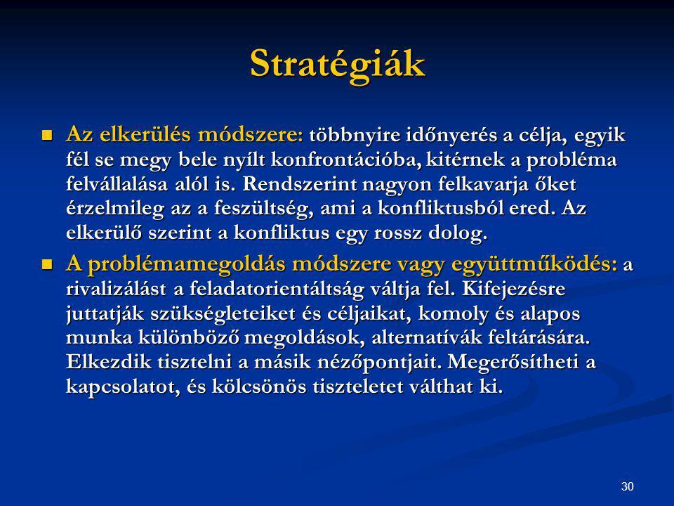 30 Stratégiák Az elkerülés módszere : többnyire időnyerés a célja, egyik fél se megy bele nyílt konfrontációba, kitérnek a probléma felvállalása alól