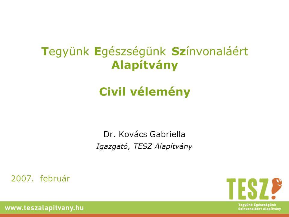 Tegyünk Egészségünk Színvonaláért Alapítvány Civil vélemény Dr. Kovács Gabriella Igazgató, TESZ Alapítvány 2007. február