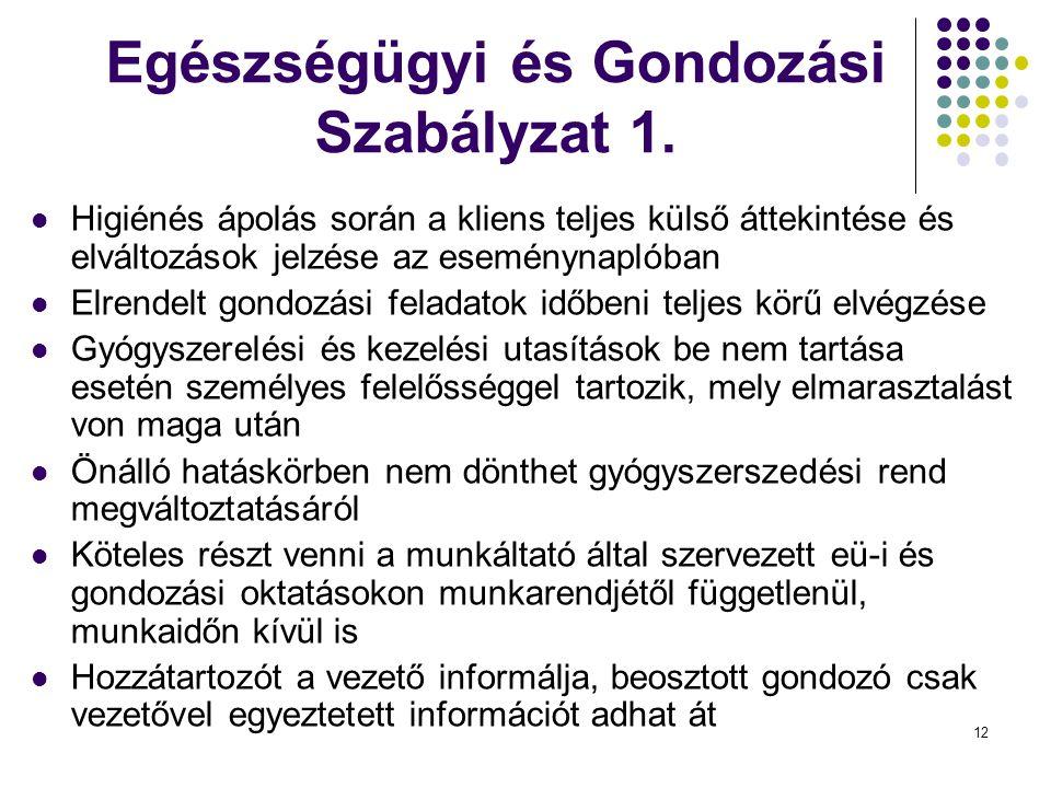 13 Egészségügyi és Gondozási Szabályzat 2.