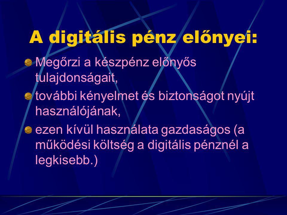 A digitális pénz előnyei: Megőrzi a készpénz előnyős tulajdonságait, további kényelmet és biztonságot nyújt használójának, ezen kívül használata gazdaságos (a működési költség a digitális pénznél a legkisebb.)