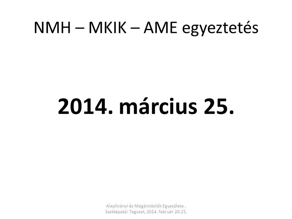 NMH – MKIK – AME egyeztetés 2014. március 25.