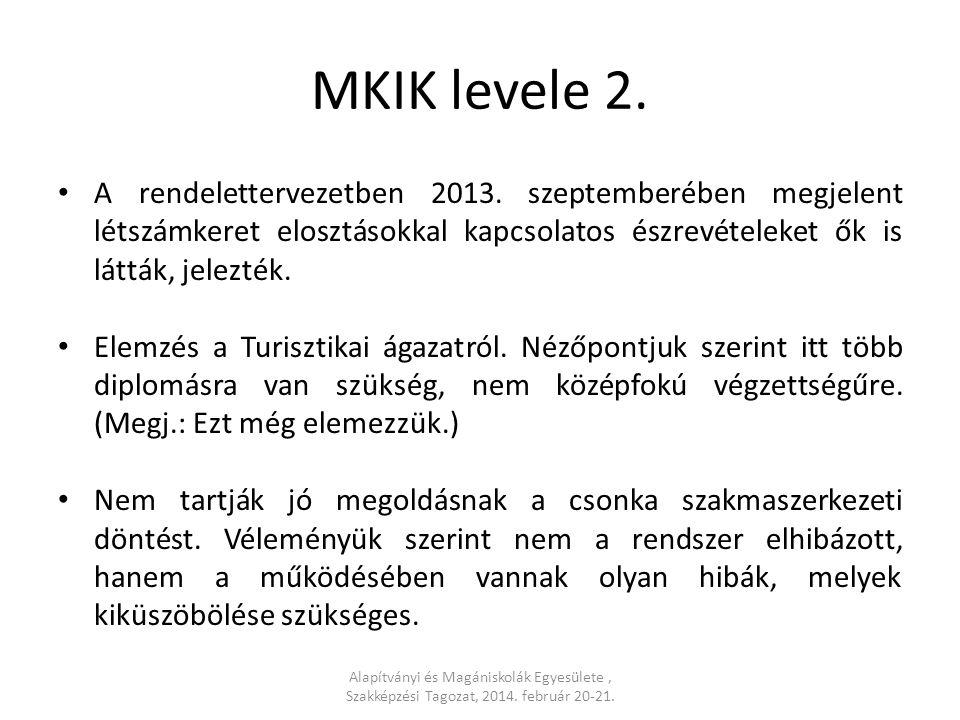 MKIK levele 2. A rendelettervezetben 2013.