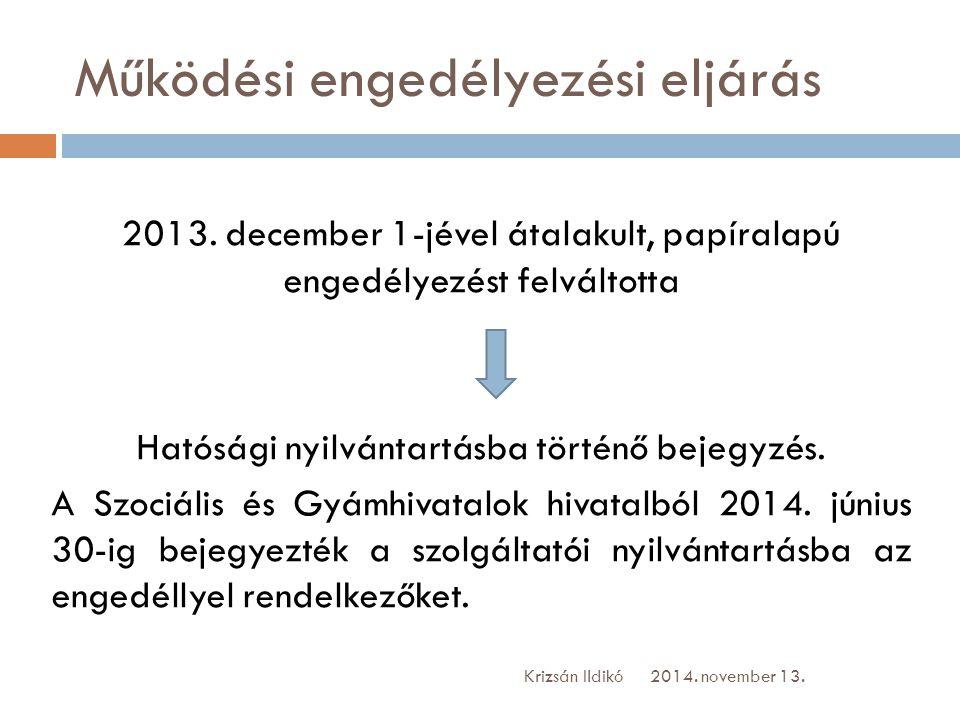 Működési engedélyezési eljárás 2013. december 1-jével átalakult, papíralapú engedélyezést felváltotta Hatósági nyilvántartásba történő bejegyzés. A Sz