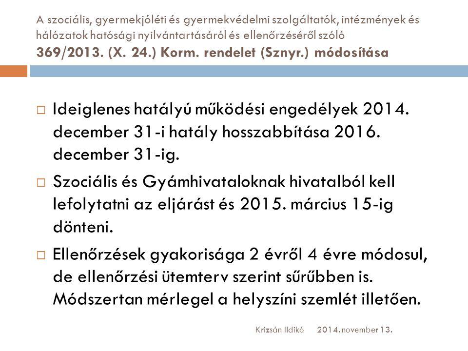 A szociális, gyermekjóléti és gyermekvédelmi szolgáltatók, intézmények és hálózatok hatósági nyilvántartásáról és ellenőrzéséről szóló 369/2013. (X. 2
