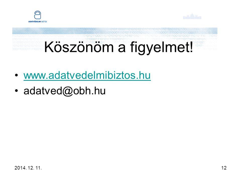 2014. 12. 11.12 Köszönöm a figyelmet! www.adatvedelmibiztos.hu adatved@obh.hu