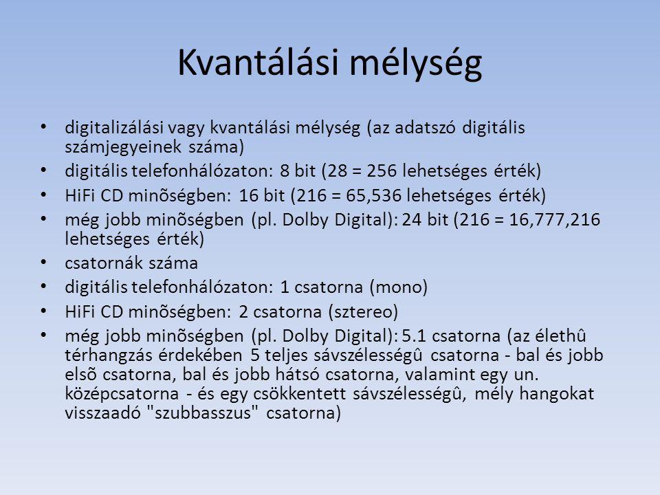 Kvantálási mélység digitalizálási vagy kvantálási mélység (az adatszó digitális számjegyeinek száma) digitális telefonhálózaton: 8 bit (28 = 256 lehetséges érték) HiFi CD minõségben: 16 bit (216 = 65,536 lehetséges érték) még jobb minõségben (pl.