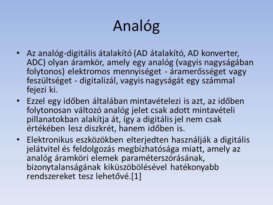 Analóg Az analóg-digitális átalakító (AD átalakító, AD konverter, ADC) olyan áramkör, amely egy analóg (vagyis nagyságában folytonos) elektromos mennyiséget - áramerősséget vagy feszültséget - digitalizál, vagyis nagyságát egy számmal fejezi ki.