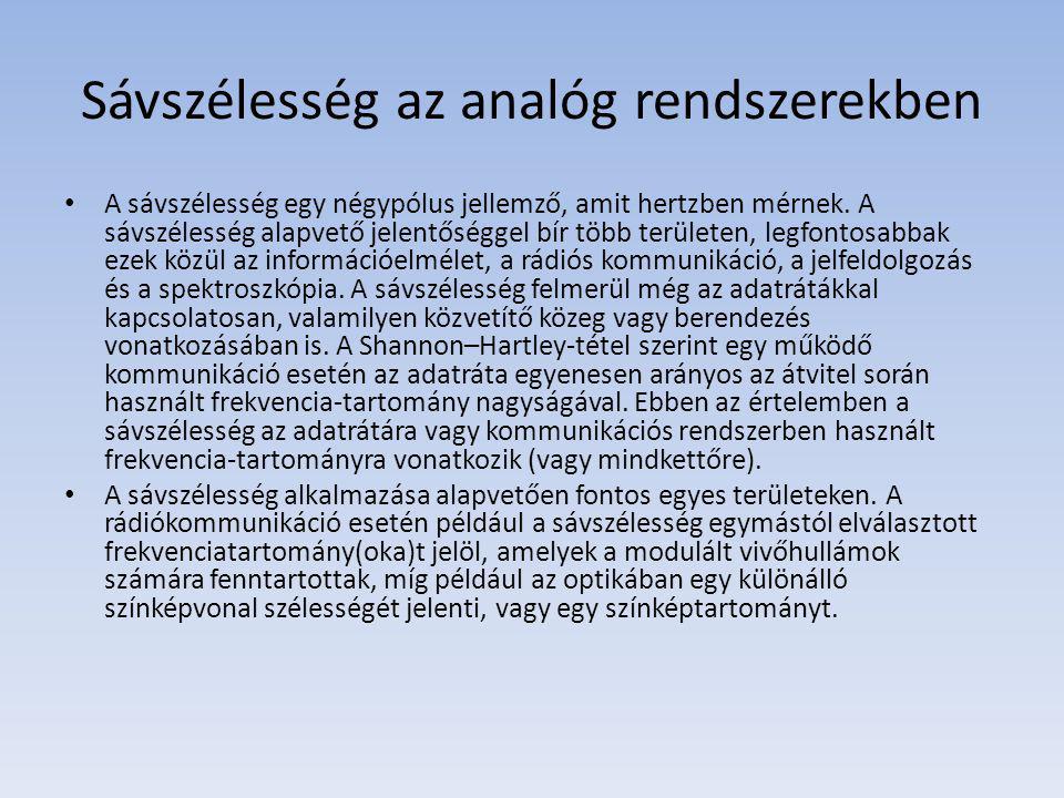 Sávszélesség az analóg rendszerekben A sávszélesség egy négypólus jellemző, amit hertzben mérnek. A sávszélesség alapvető jelentőséggel bír több terül