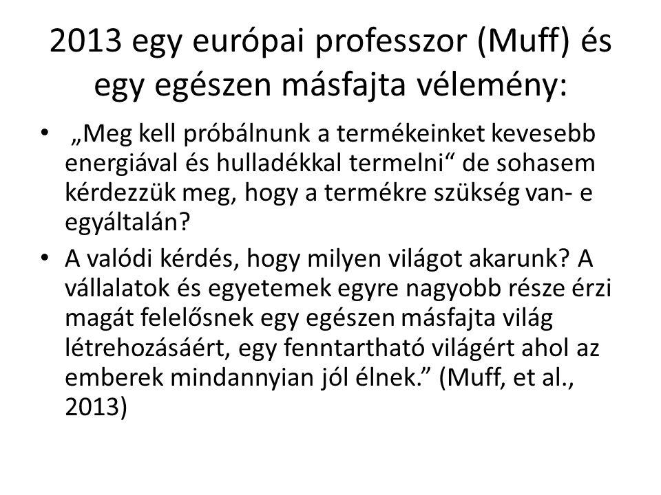 """2013 egy európai professzor (Muff) és egy egészen másfajta vélemény: """"Meg kell próbálnunk a termékeinket kevesebb energiával és hulladékkal termelni"""""""