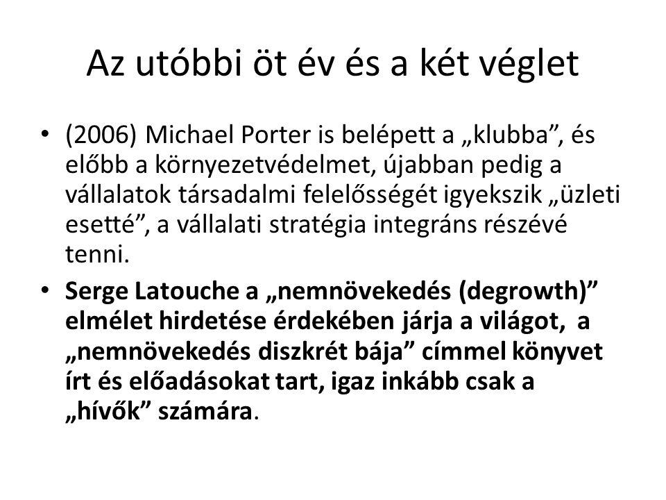 """Az utóbbi öt év és a két véglet (2006) Michael Porter is belépett a """"klubba"""", és előbb a környezetvédelmet, újabban pedig a vállalatok társadalmi fele"""