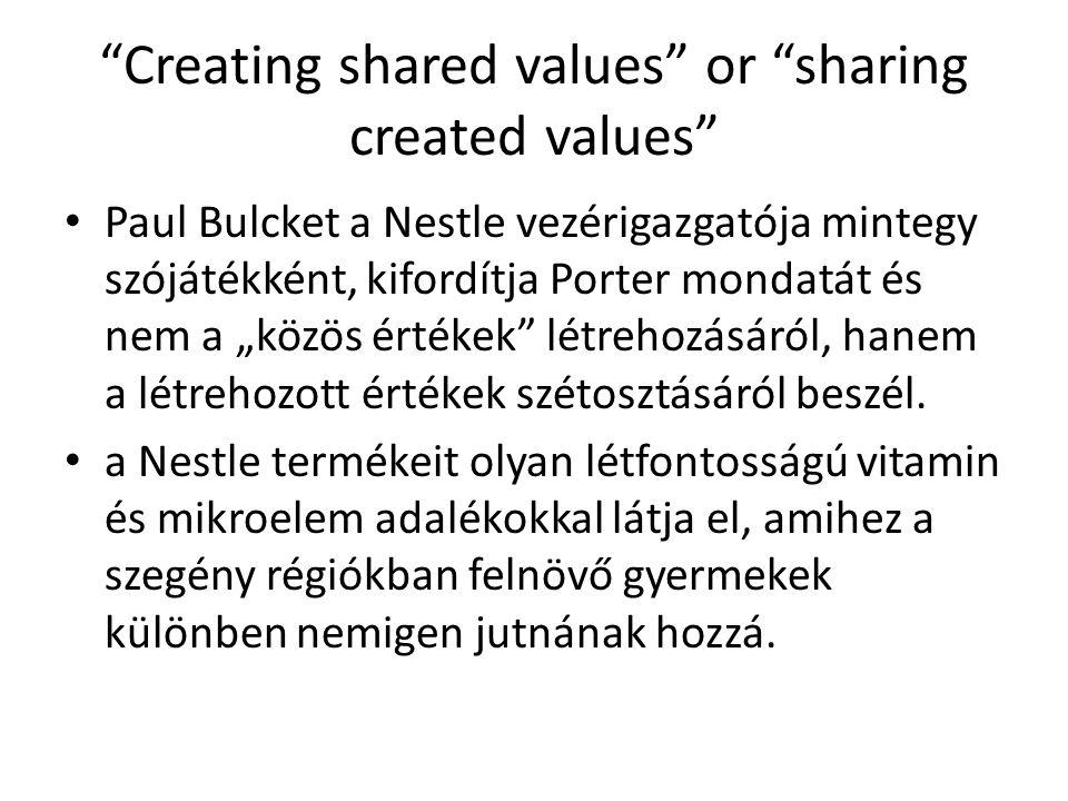 """""""Creating shared values"""" or """"sharing created values"""" Paul Bulcket a Nestle vezérigazgatója mintegy szójátékként, kifordítja Porter mondatát és nem a """""""