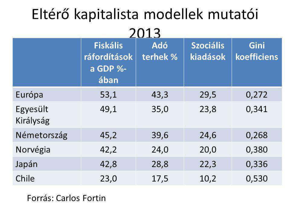 Eltérő kapitalista modellek mutatói 2013 Fiskális ráfordítások a GDP %- ában Adó terhek % Szociális kiadások Gini koefficiens Európa53,143,329,50,272