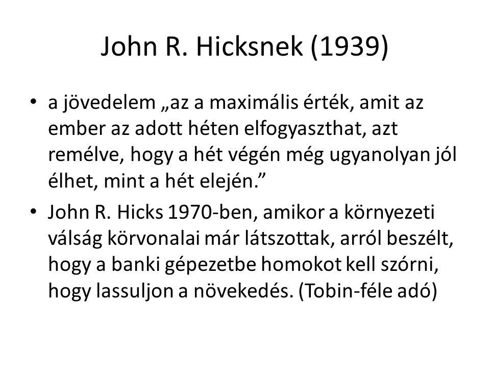 """John R. Hicksnek (1939) a jövedelem """"az a maximális érték, amit az ember az adott héten elfogyaszthat, azt remélve, hogy a hét végén még ugyanolyan jó"""