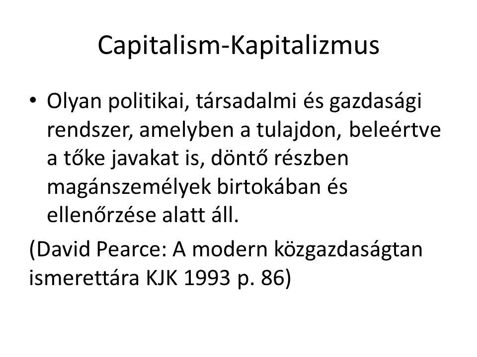 Capitalism-Kapitalizmus Olyan politikai, társadalmi és gazdasági rendszer, amelyben a tulajdon, beleértve a tőke javakat is, döntő részben magánszemél
