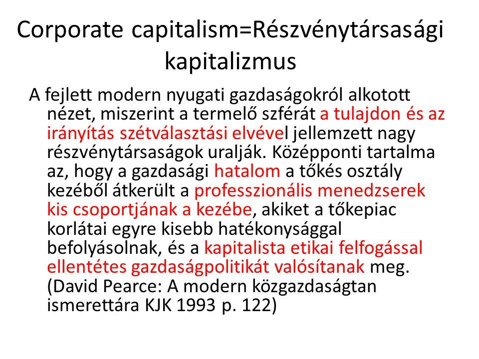 Corporate capitalism=Részvénytársasági kapitalizmus A fejlett modern nyugati gazdaságokról alkotott nézet, miszerint a termelő szférát a tulajdon és a