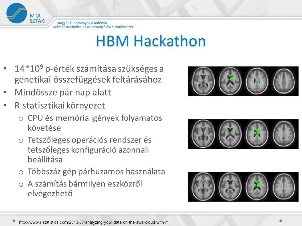 HBM Hackathon 14*10 9 p-érték számítása szükséges a genetikai összefüggések feltárásához Mindössze pár nap alatt R statisztikai környezet o CPU és memória igények folyamatos követése o Tetszőleges operációs rendszer és tetszőleges konfiguráció azonnali beállítása o Többszáz gép párhuzamos használata o A számítás bármilyen eszközről elvégezhető http://www.r-statistics.com/2013/07/analyzing-your-data-on-the-aws-cloud-with-r/