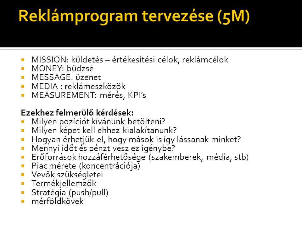  MISSION: küldetés – értékesítési célok, reklámcélok  MONEY: büdzsé  MESSAGE. üzenet  MEDIA : reklámeszközök  MEASUREMENT: mérés, KPI's Ezekhez f