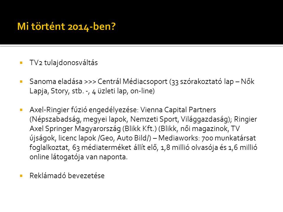  TV2 tulajdonosváltás  Sanoma eladása >>> Centrál Médiacsoport (33 szórakoztató lap – Nők Lapja, Story, stb. -, 4 üzleti lap, on-line)  Axel-Ringie