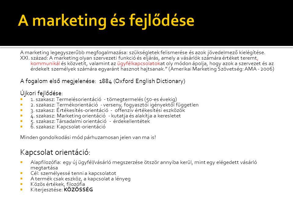 A marketing legegyszerűbb megfogalmazása: szükségletek felismerése és azok jövedelmező kielégítése. XXI. század: A marketing olyan szervezeti funkció
