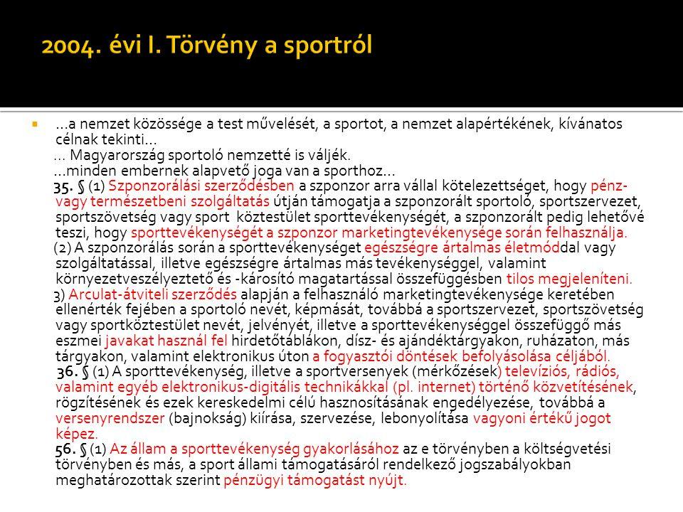  …a nemzet közössége a test művelését, a sportot, a nemzet alapértékének, kívánatos célnak tekinti…... Magyarország sportoló nemzetté is váljék. …min