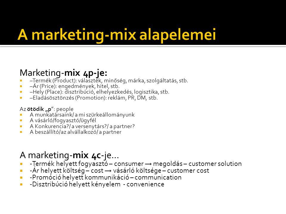 Marketing-mix 4p-je:  –Termék (Product): választék, minőség, márka, szolgáltatás, stb.  –Ár (Price): engedmények, hitel, stb.  –Hely (Place): diszt