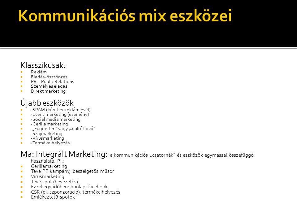 Klasszikusak:  Reklám  Eladás-ösztönzés  PR – Public Relations  Személyes eladás  Direkt marketing Újabb eszközök  -SPAM (kéretlen reklámlevél)