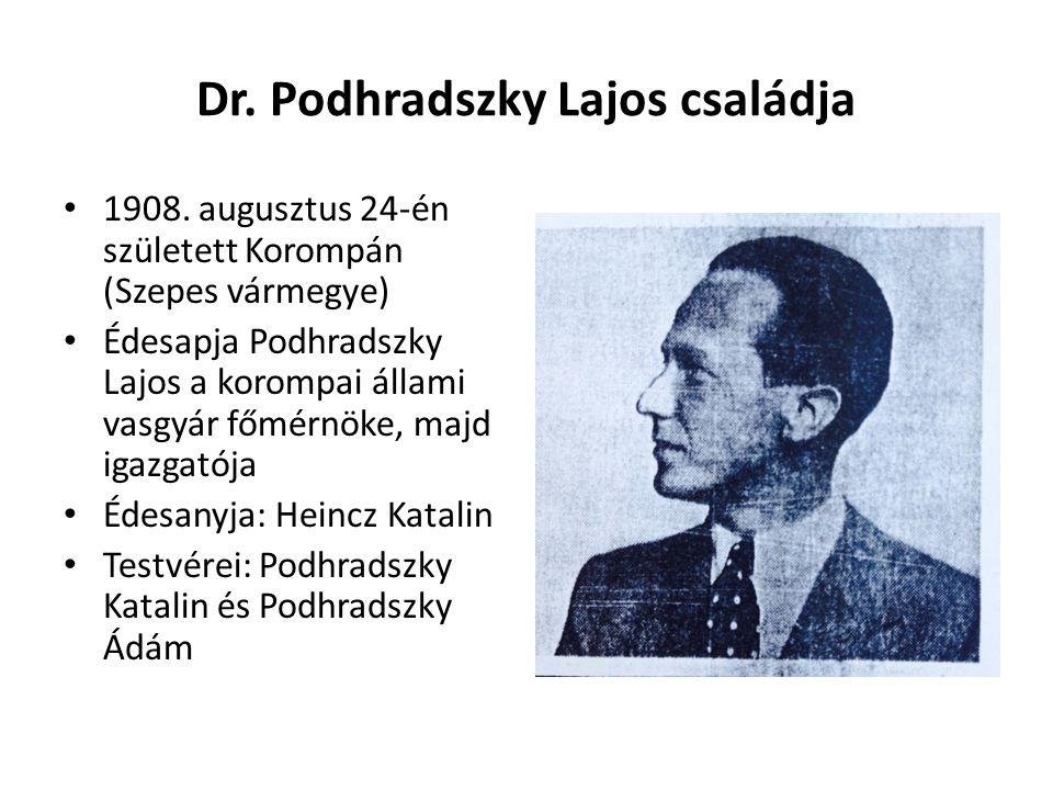 Dr. Podhradszky Lajos családja 1908. augusztus 24-én született Korompán (Szepes vármegye) Édesapja Podhradszky Lajos a korompai állami vasgyár főmérnö