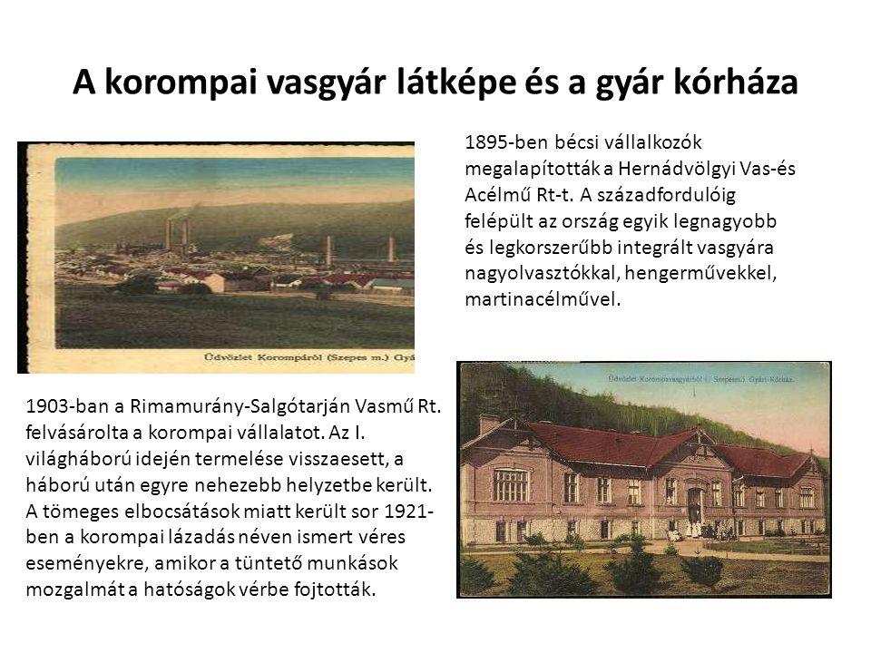 A korompai vasgyár látképe és a gyár kórháza 1895-ben bécsi vállalkozók megalapították a Hernádvölgyi Vas-és Acélmű Rt-t. A századfordulóig felépült a