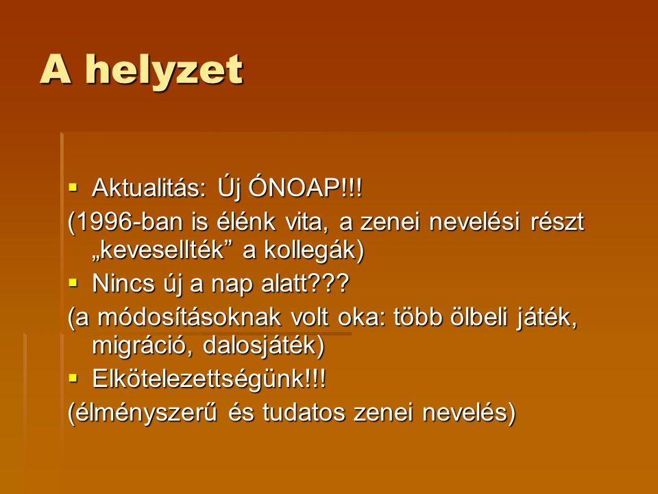 """A helyzet  Aktualitás: Új ÓNOAP!!! (1996-ban is élénk vita, a zenei nevelési részt """"kevesellték"""" a kollegák)  Nincs új a nap alatt??? (a módosítások"""