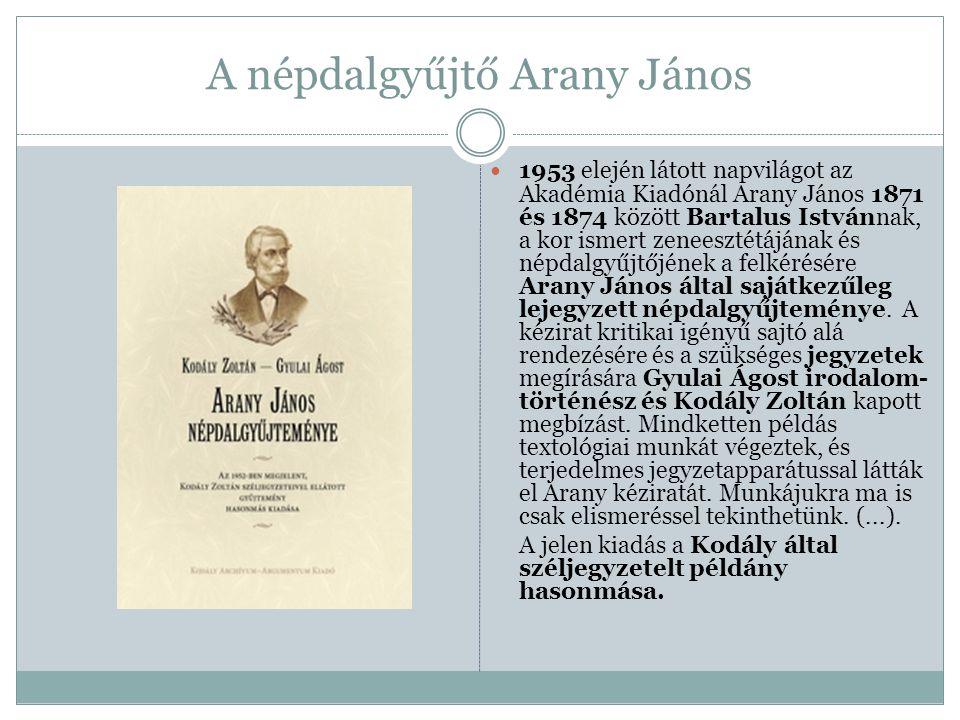 A népdalgyűjtő Arany János 1953 elején látott napvilágot az Akadémia Kiadónál Arany János 1871 és 1874 között Bartalus Istvánnak, a kor ismert zeneesz