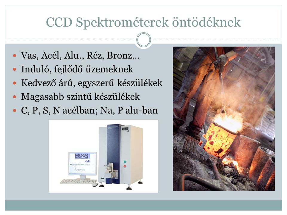 CCD Spektrométerek öntödéknek Vas, Acél, Alu., Réz, Bronz… Induló, fejlődő üzemeknek Kedvező árú, egyszerű készülékek Magasabb szintű készülékek C, P,