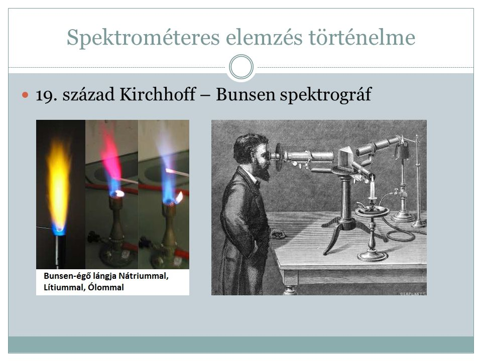 Spektrométeres elemzés történelme 19. század Kirchhoff – Bunsen spektrográf