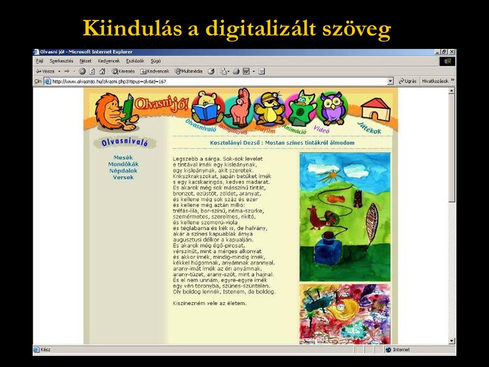 Kiindulás a digitalizált szöveg