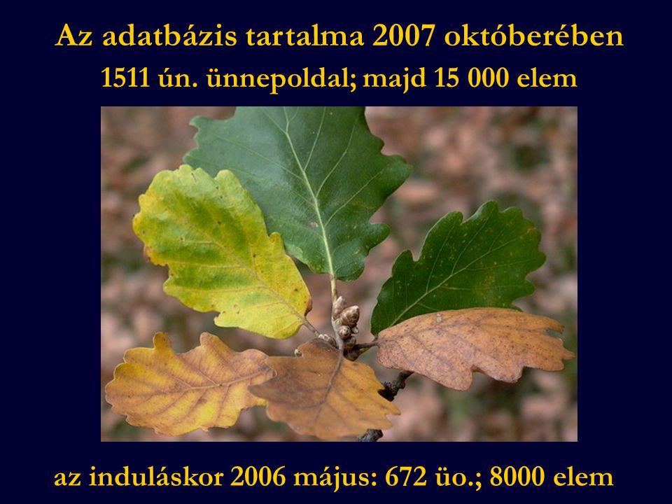 Az adatbázis tartalma 2007 októberében 1511 ún.